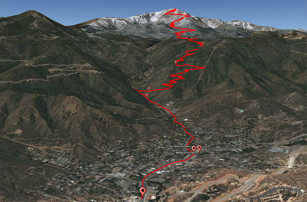 Pikes Peak Ascent route map