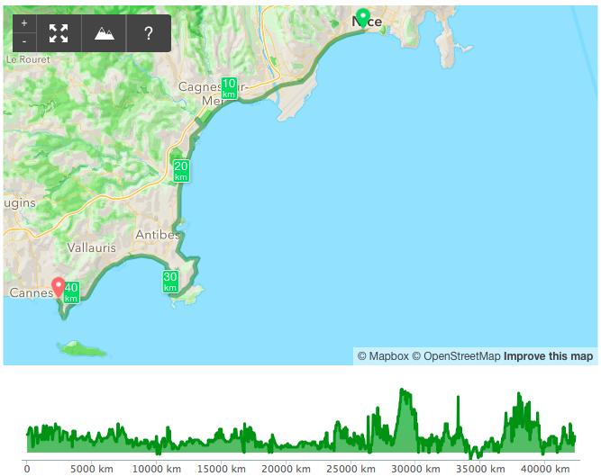 Маршрут марафона и перепад высот (скриншот из Runkeeper)