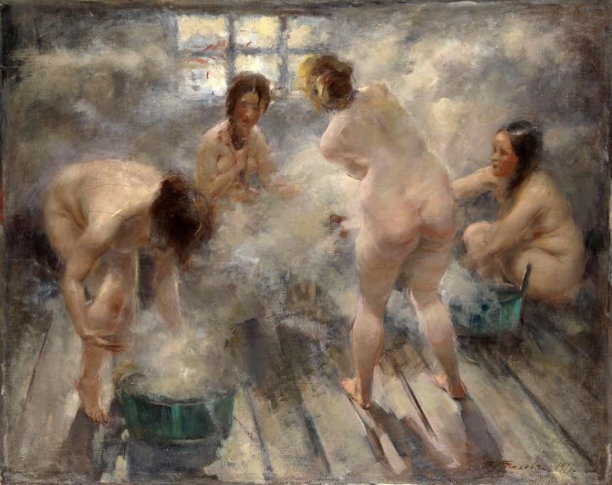 «В русской бане», холст, масло. Тихов В.Г., 1916.