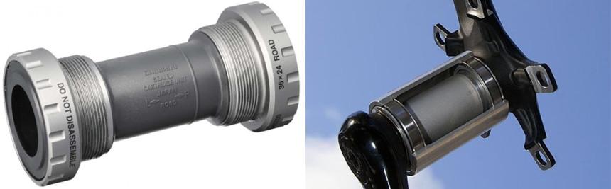 BSA – слева, «press fit» – справа